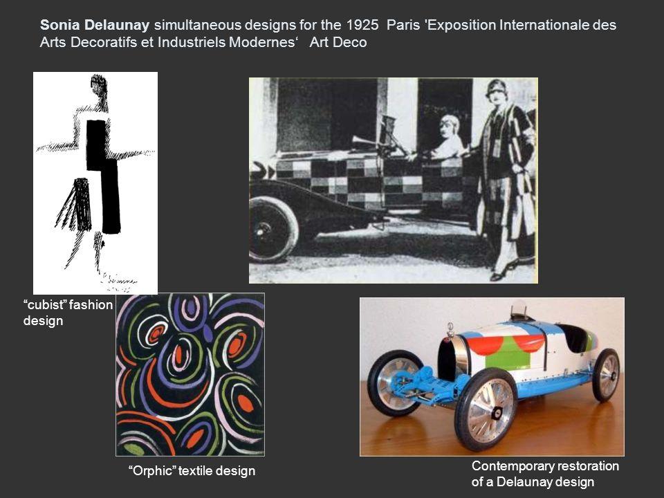 Sonia Delaunay simultaneous designs for the 1925 Paris Exposition Internationale des Arts Decoratifs et Industriels Modernes' Art Deco