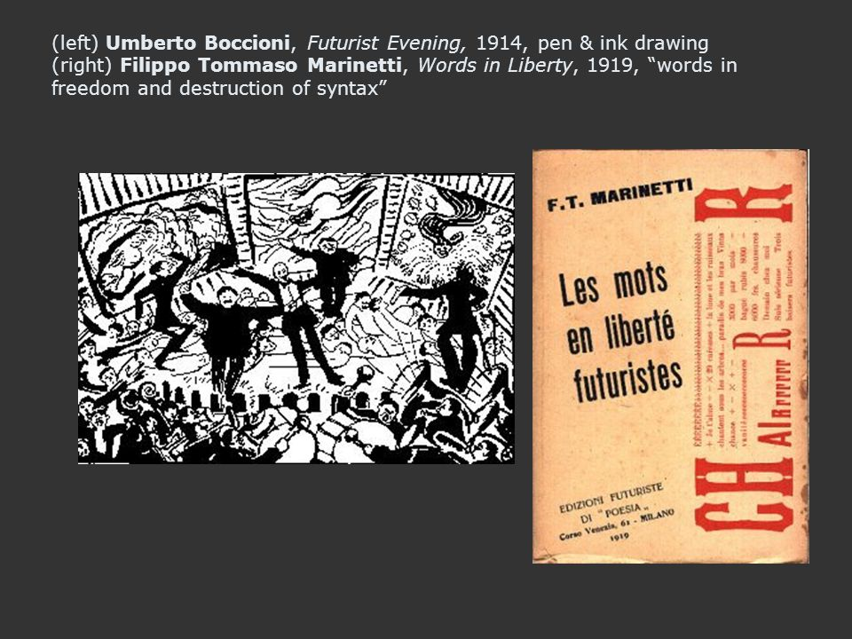 (left) Umberto Boccioni, Futurist Evening, 1914, pen & ink drawing (right) Filippo Tommaso Marinetti, Words in Liberty, 1919, words in freedom and destruction of syntax