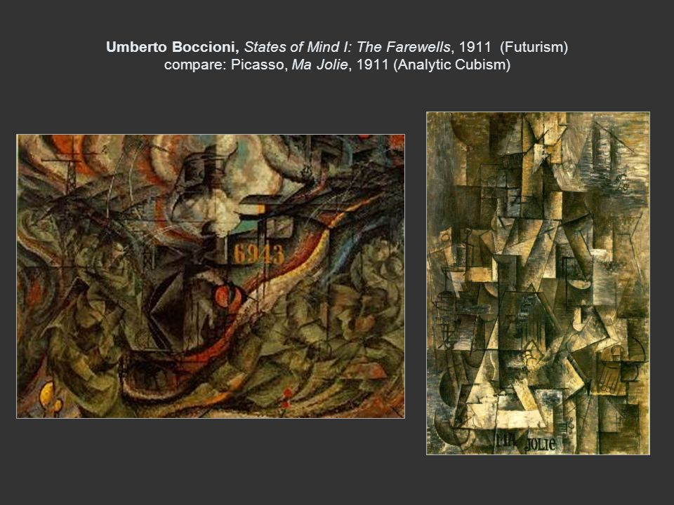 Umberto Boccioni, States of Mind I: The Farewells, 1911 (Futurism) compare: Picasso, Ma Jolie, 1911 (Analytic Cubism)