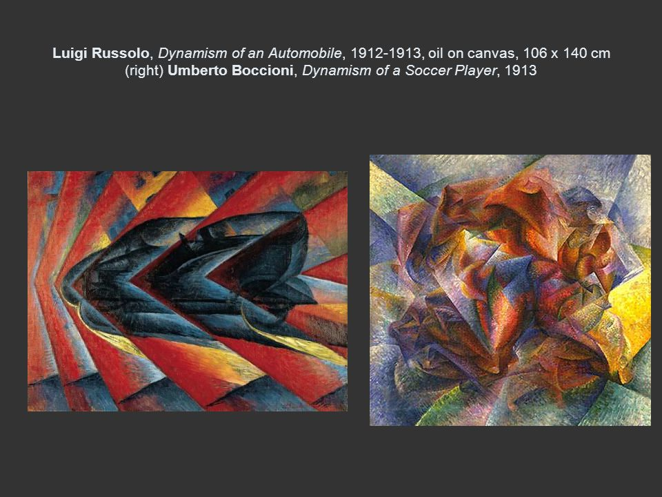 Luigi Russolo, Dynamism of an Automobile, 1912-1913, oil on canvas, 106 x 140 cm (right) Umberto Boccioni, Dynamism of a Soccer Player, 1913
