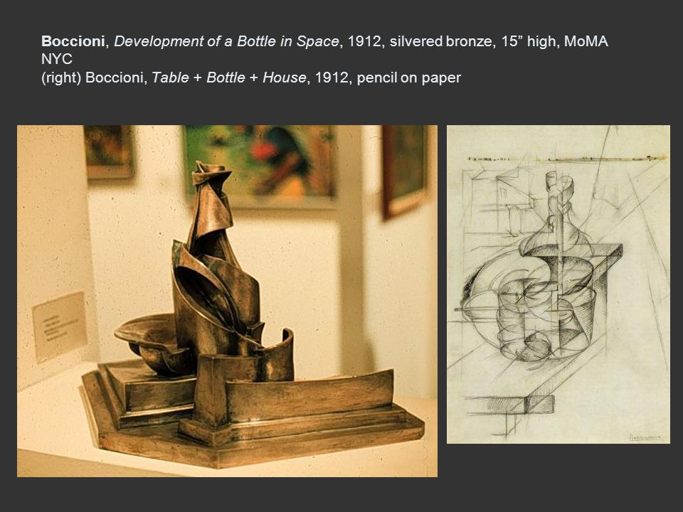 Boccioni, Development of a Bottle in Space, 1912, silvered bronze, 15 high, MoMA NYC (right) Boccioni, Table + Bottle + House, 1912, pencil on paper