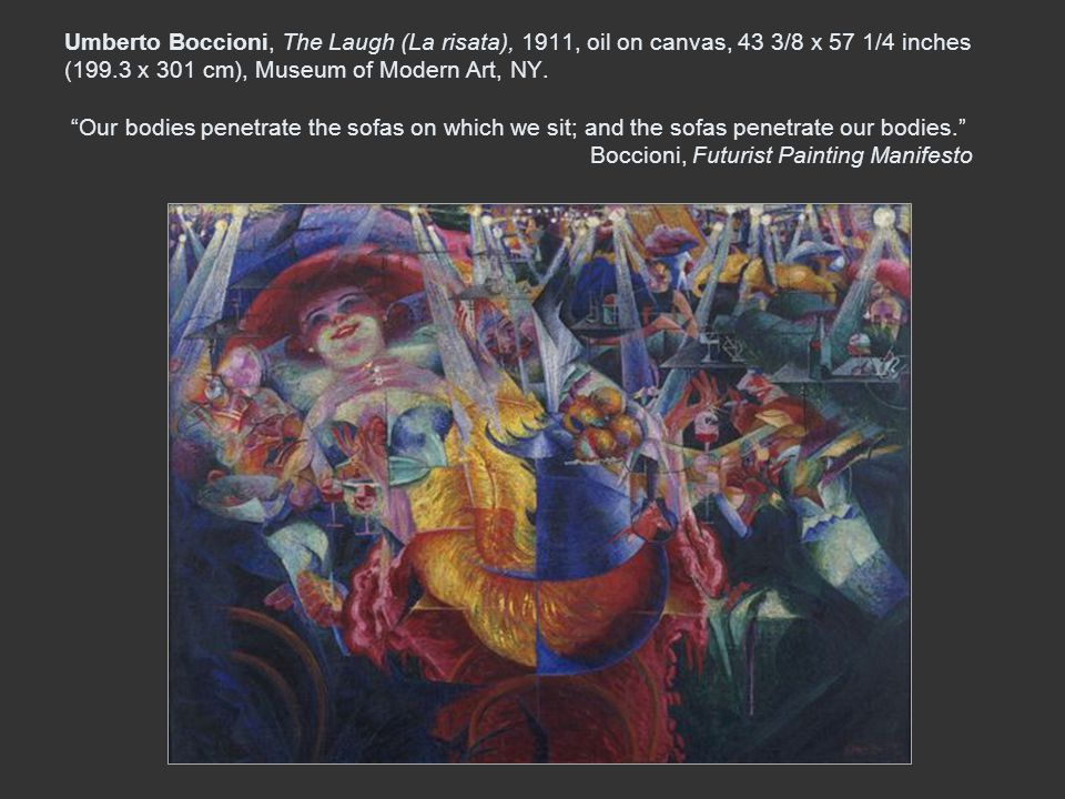 Umberto Boccioni, The Laugh (La risata), 1911, oil on canvas, 43 3/8 x 57 1/4 inches (199.3 x 301 cm), Museum of Modern Art, NY.
