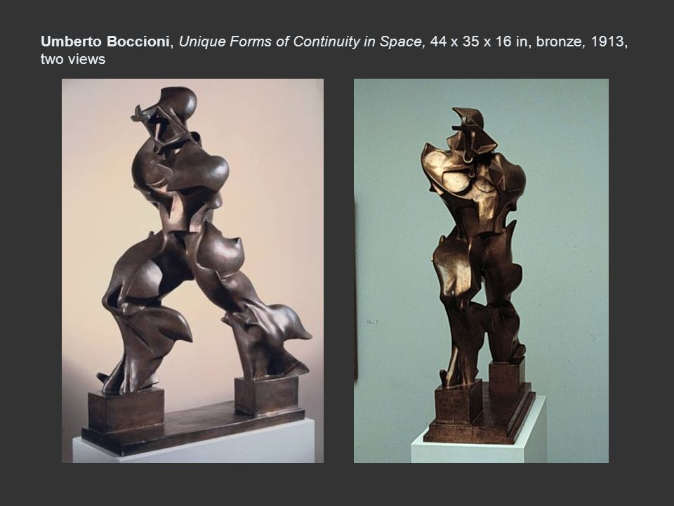 Umberto Boccioni, Unique Forms of Continuity in Space, 44 x 35 x 16 in, bronze, 1913, two views