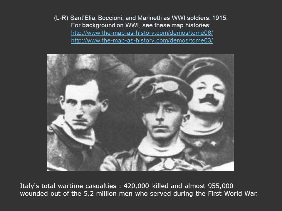 (L-R) Sant'Elia, Boccioni, and Marinetti as WWI soldiers, 1915
