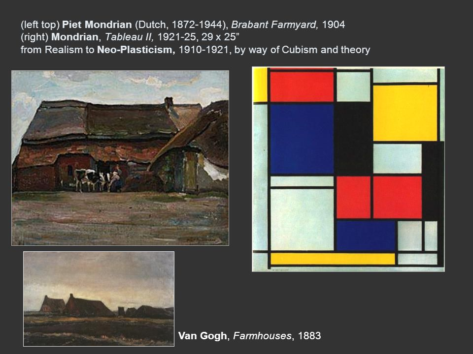 (left top) Piet Mondrian (Dutch, 1872-1944), Brabant Farmyard, 1904 (right) Mondrian, Tableau II, 1921-25, 29 x 25 from Realism to Neo-Plasticism, 1910-1921, by way of Cubism and theory