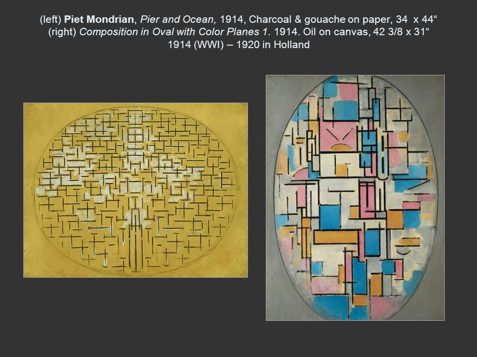 (left) Piet Mondrian, Pier and Ocean, 1914, Charcoal & gouache on paper, 34 x 44 (right) Composition in Oval with Color Planes 1.