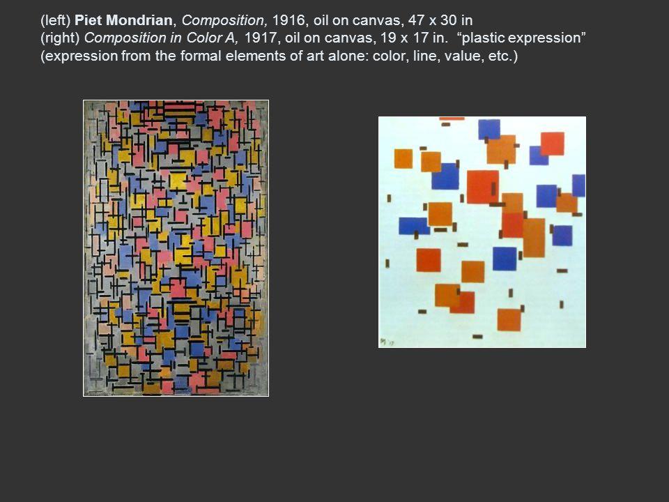 (left) Piet Mondrian, Composition, 1916, oil on canvas, 47 x 30 in (right) Composition in Color A, 1917, oil on canvas, 19 x 17 in.