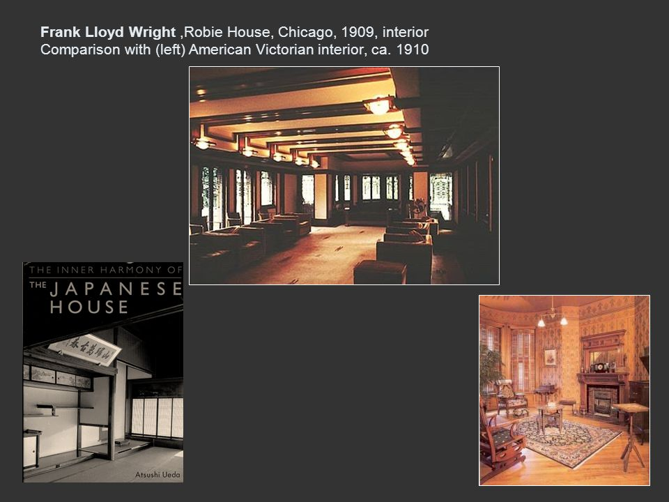 Frank Lloyd Wright ,Robie House, Chicago, 1909, interior Comparison with (left) American Victorian interior, ca.