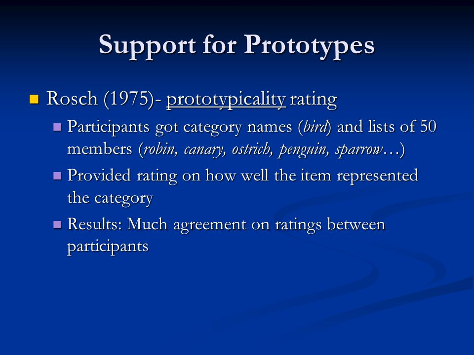 Support for Prototypes