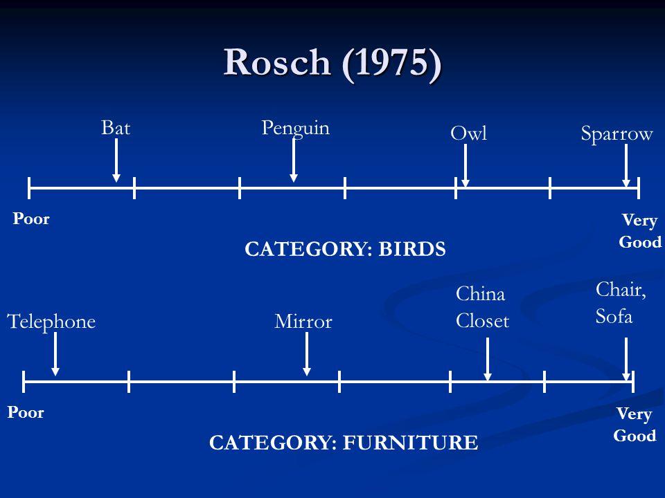 Rosch (1975) Bat Penguin Owl Sparrow CATEGORY: BIRDS Telephone Mirror