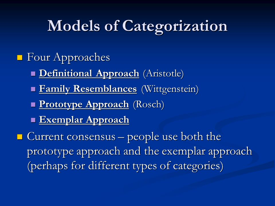 Models of Categorization