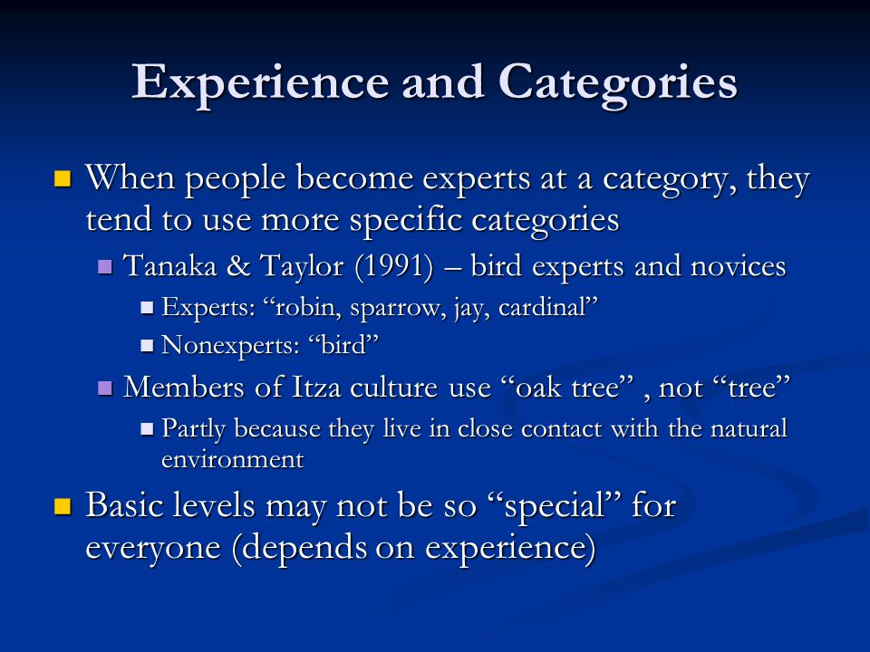 Experience and Categories