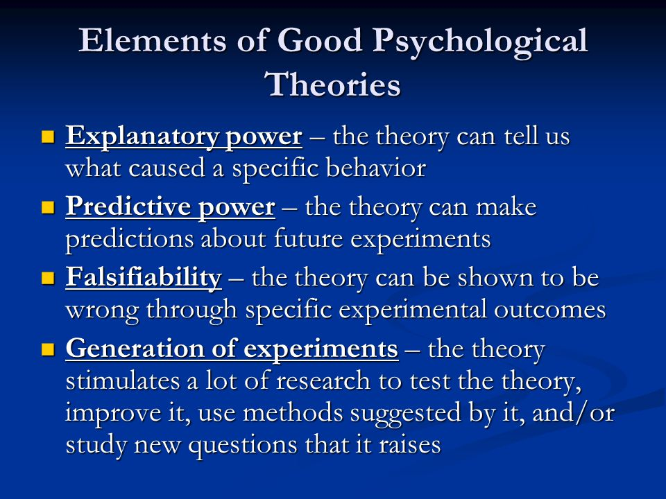 Elements of Good Psychological Theories