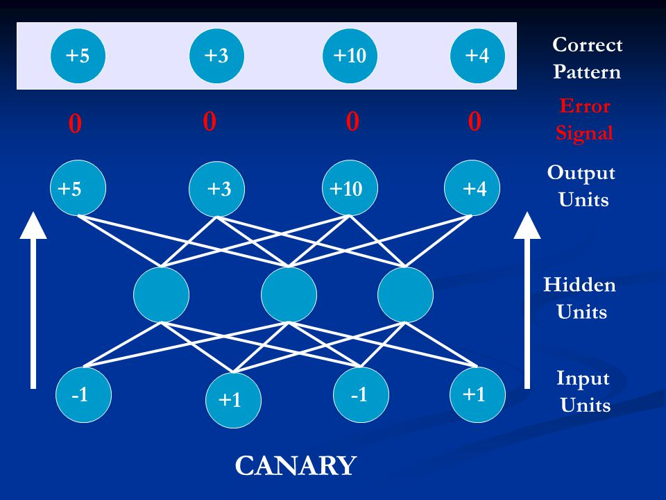 CANARY +5 +3 +10 +4 Correct Pattern Error Signal Output Units +5 +3