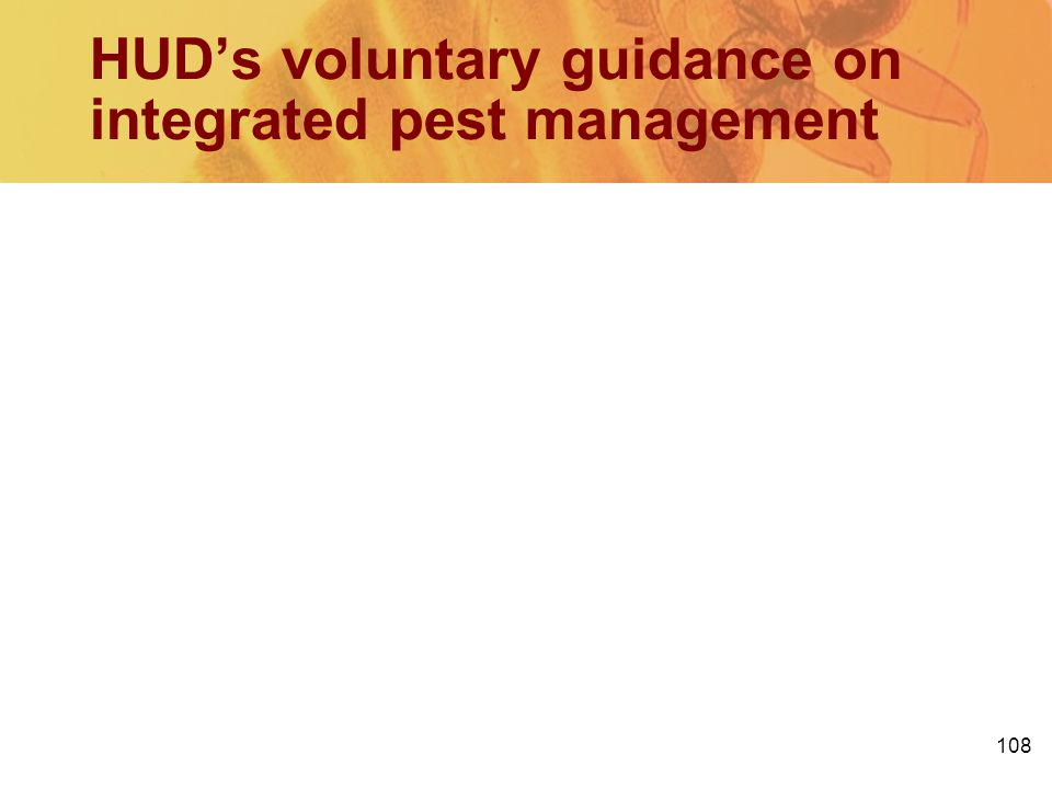 HUD's voluntary guidance on integrated pest management