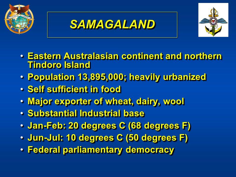 SAMAGALAND Eastern Australasian continent and northern Tindoro Island