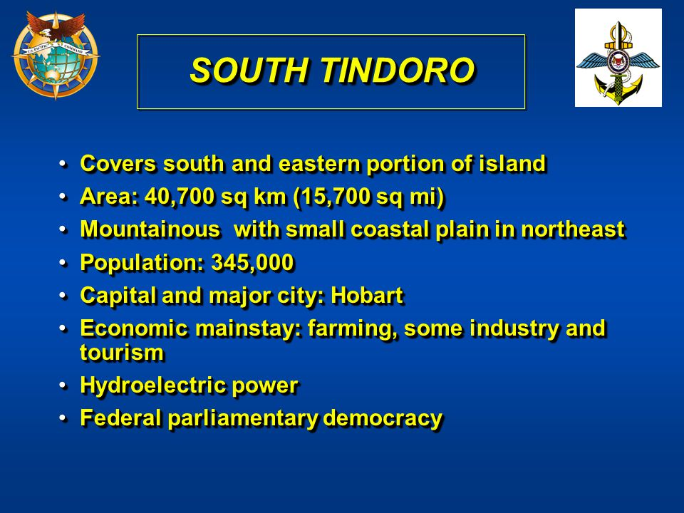 SOUTH TINDORO Covers south and eastern portion of island
