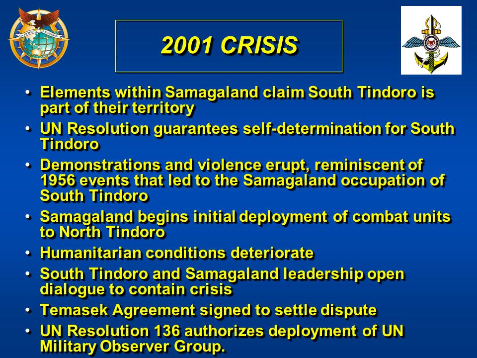 2001 CRISIS Elements within Samagaland claim South Tindoro is part of their territory. UN Resolution guarantees self-determination for South Tindoro.
