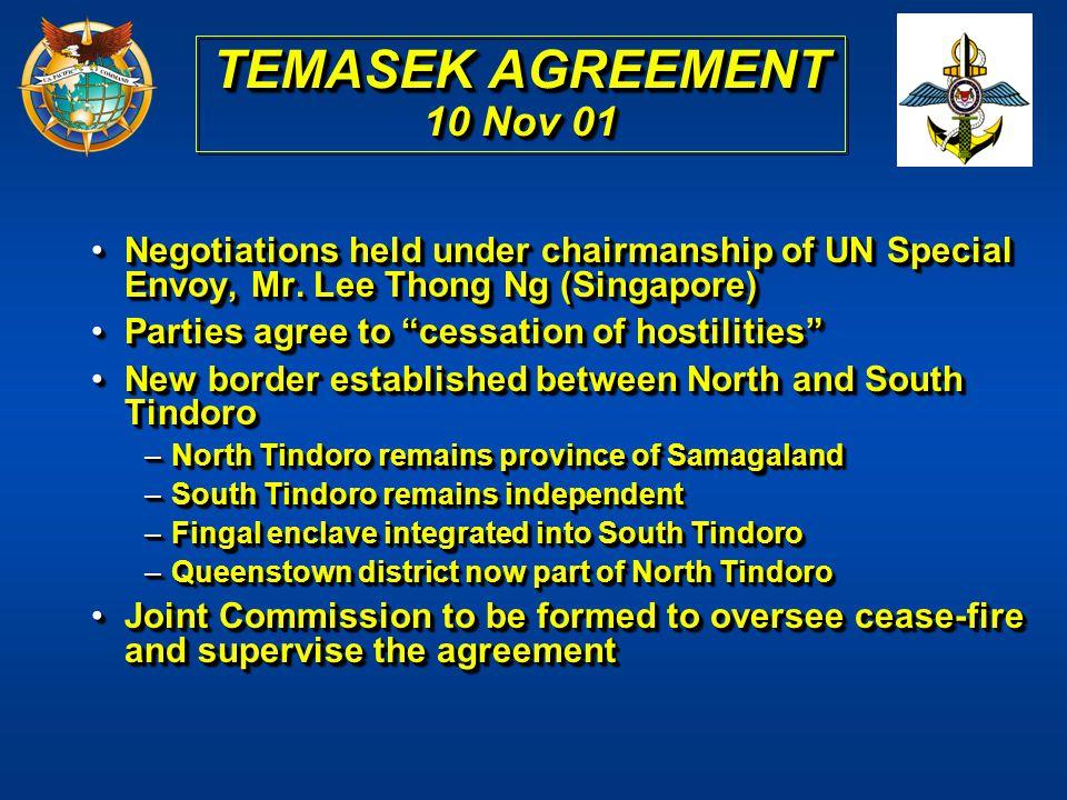 TEMASEK AGREEMENT 10 Nov 01 Negotiations held under chairmanship of UN Special Envoy, Mr. Lee Thong Ng (Singapore)