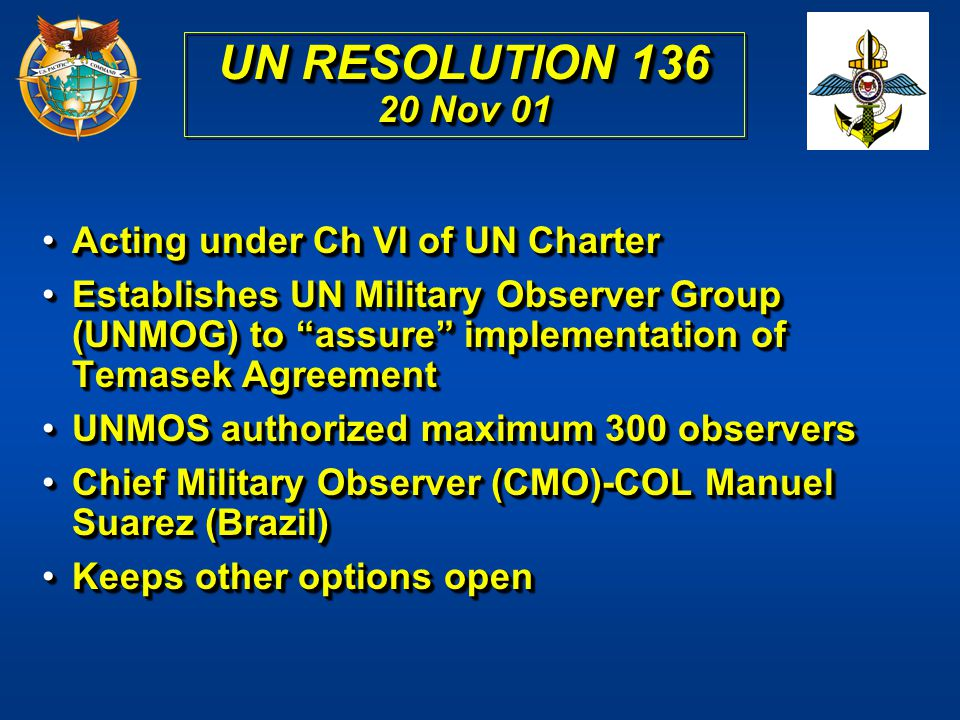 UN RESOLUTION 136 20 Nov 01 Acting under Ch VI of UN Charter
