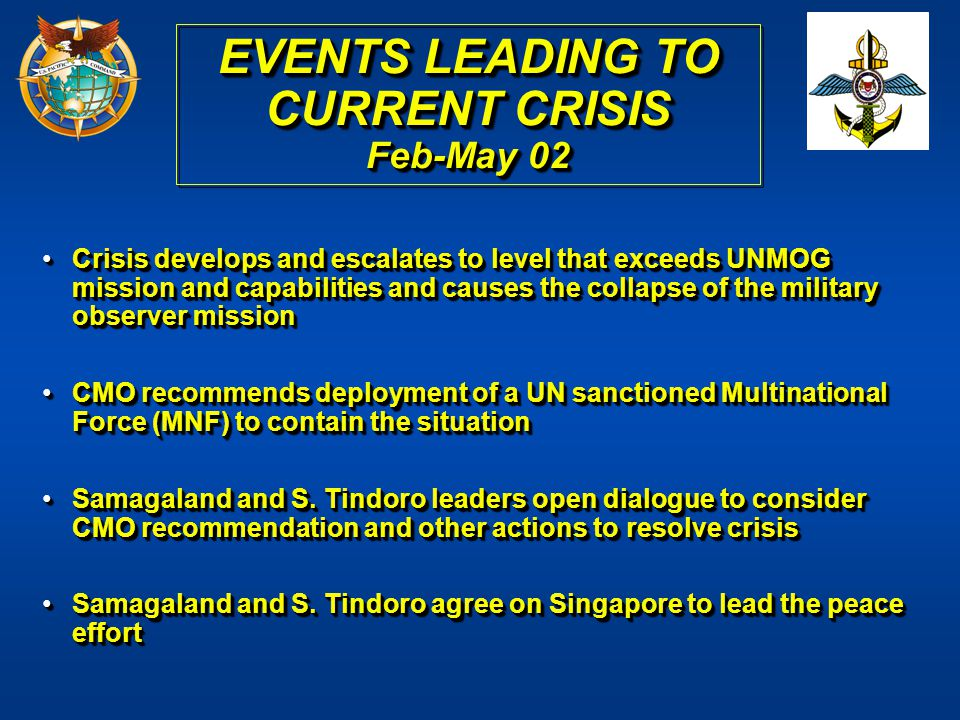 EVENTS LEADING TO CURRENT CRISIS Feb-May 02