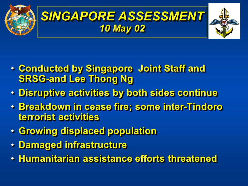 SINGAPORE ASSESSMENT 10 May 02