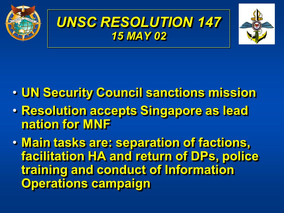 UNSC RESOLUTION 147 15 MAY 02 UN Security Council sanctions mission
