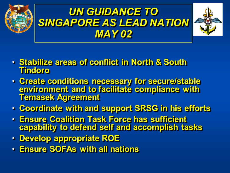 UN GUIDANCE TO SINGAPORE AS LEAD NATION MAY 02