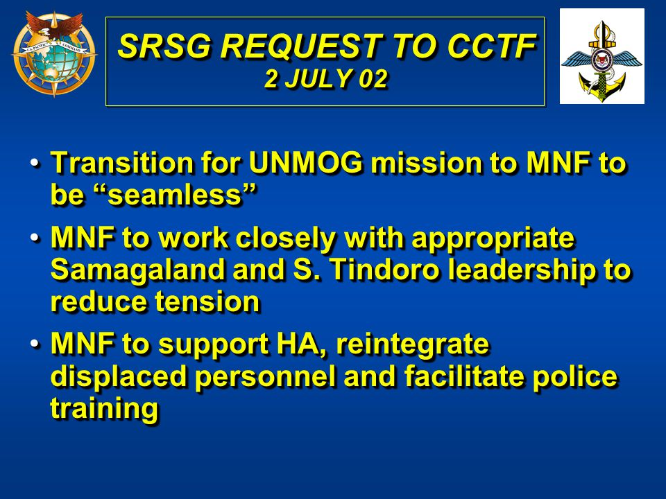 SRSG REQUEST TO CCTF 2 JULY 02