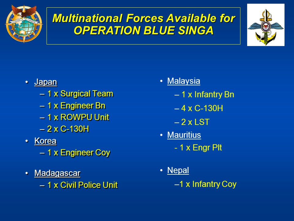 Multinational Forces Available for OPERATION BLUE SINGA