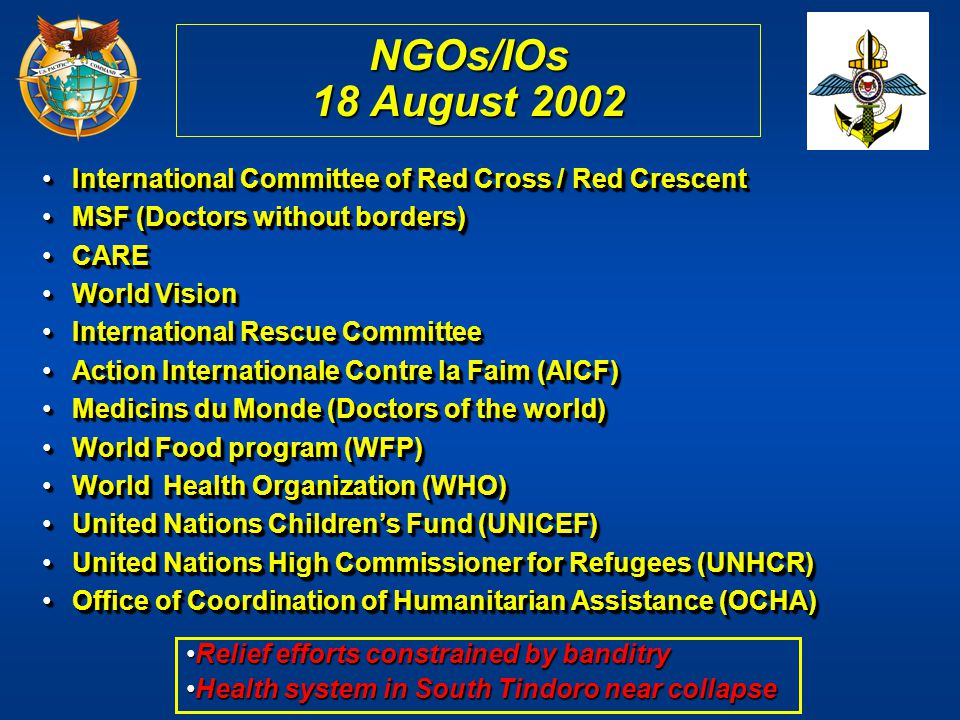 NGOs/IOs 18 August 2002 International Committee of Red Cross / Red Crescent. MSF (Doctors without borders)