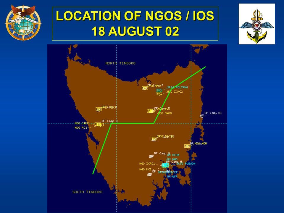 LOCATION OF NGOS / IOS 18 AUGUST 02