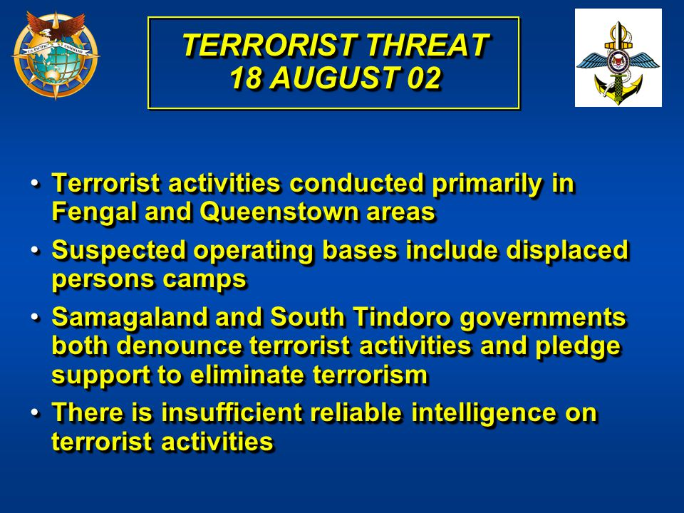 TERRORIST THREAT 18 AUGUST 02