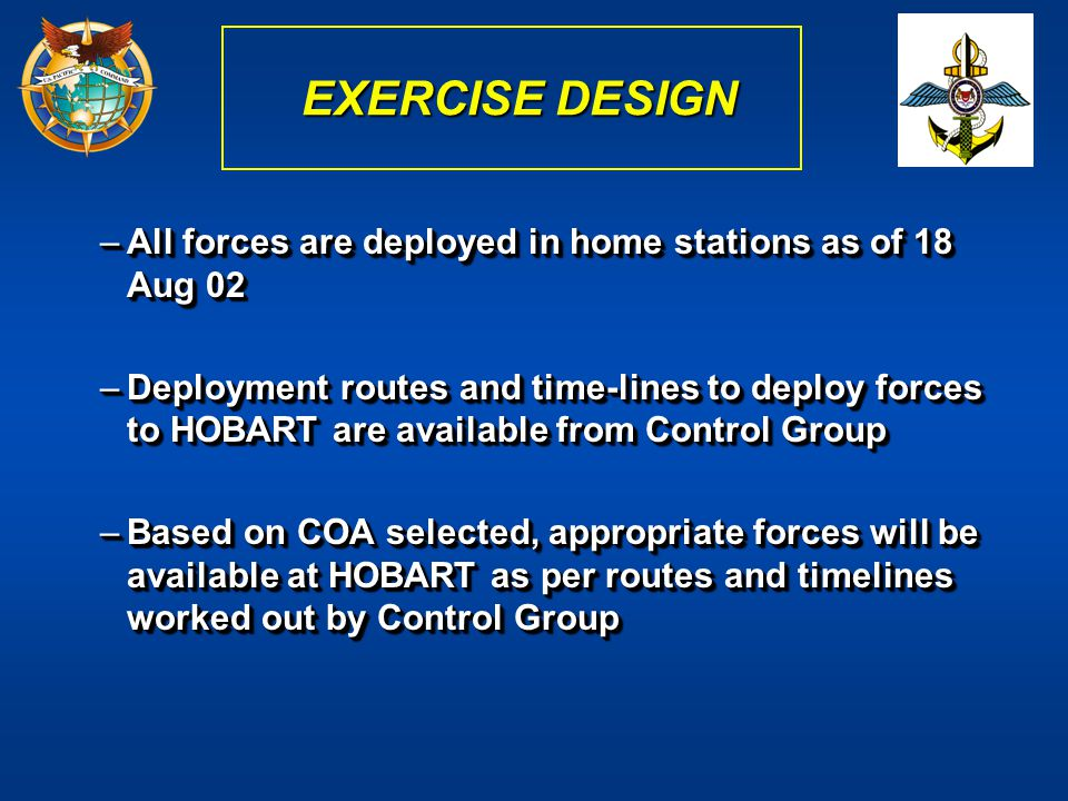 EXERCISE DESIGN All forces are deployed in home stations as of 18 Aug 02.