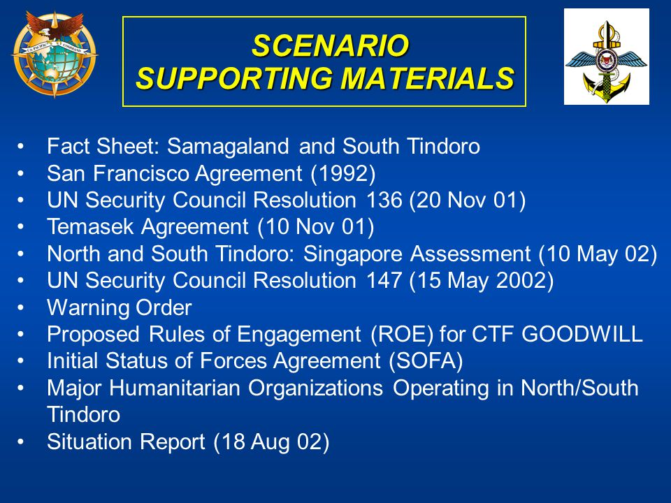 SCENARIO SUPPORTING MATERIALS