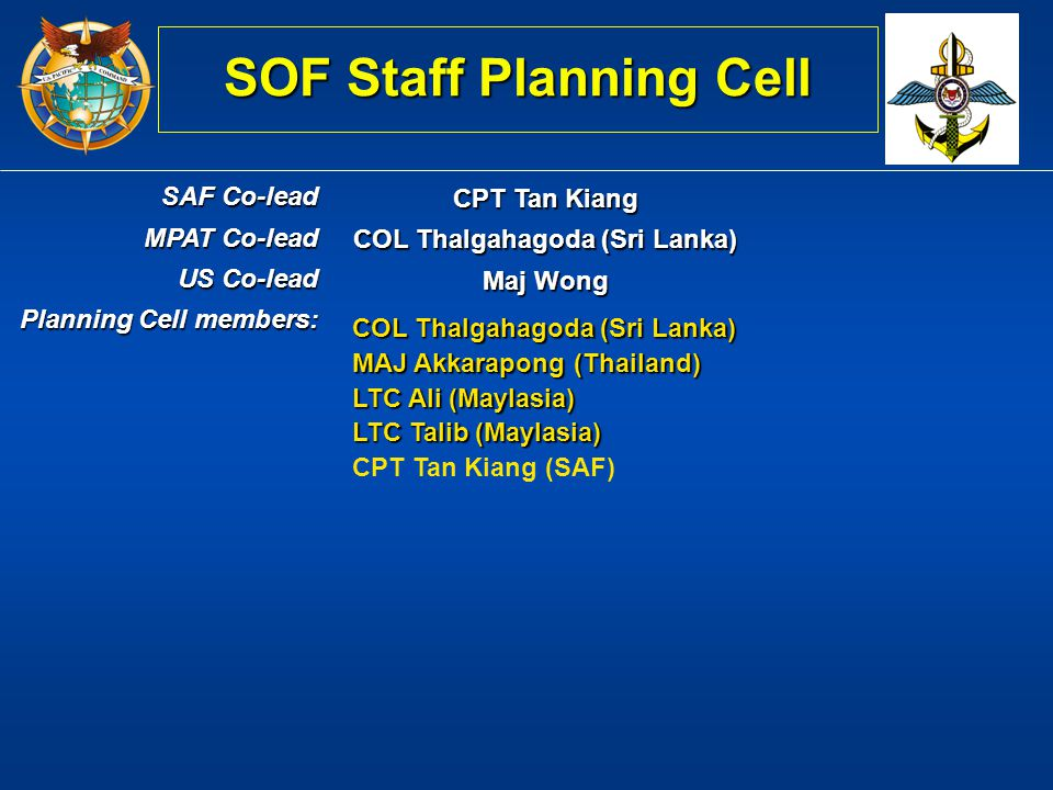 SOF Staff Planning Cell COL Thalgahagoda (Sri Lanka)