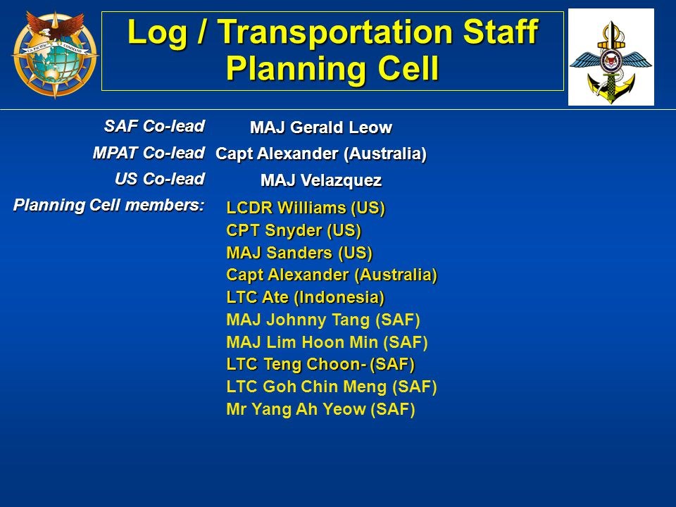Log / Transportation Staff Planning Cell Capt Alexander (Australia)