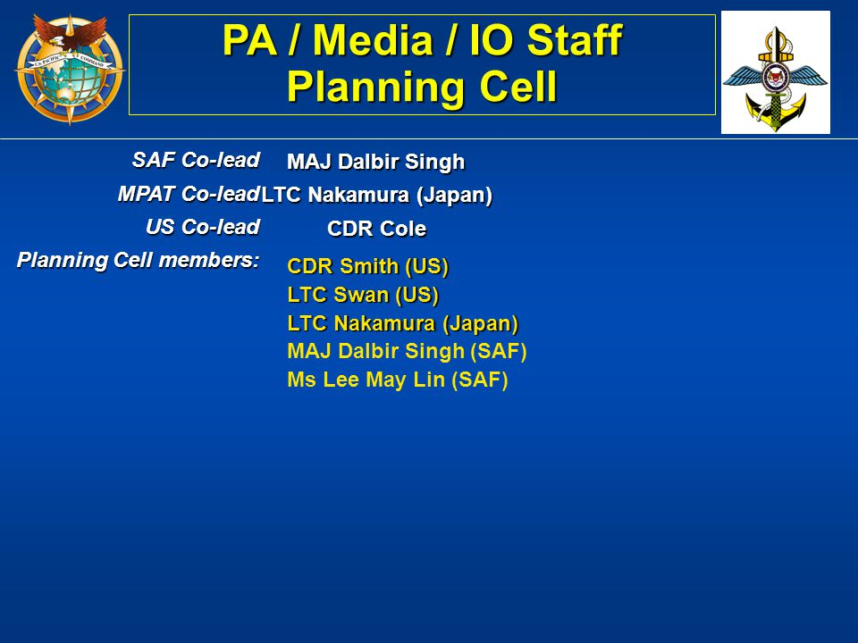 PA / Media / IO Staff Planning Cell