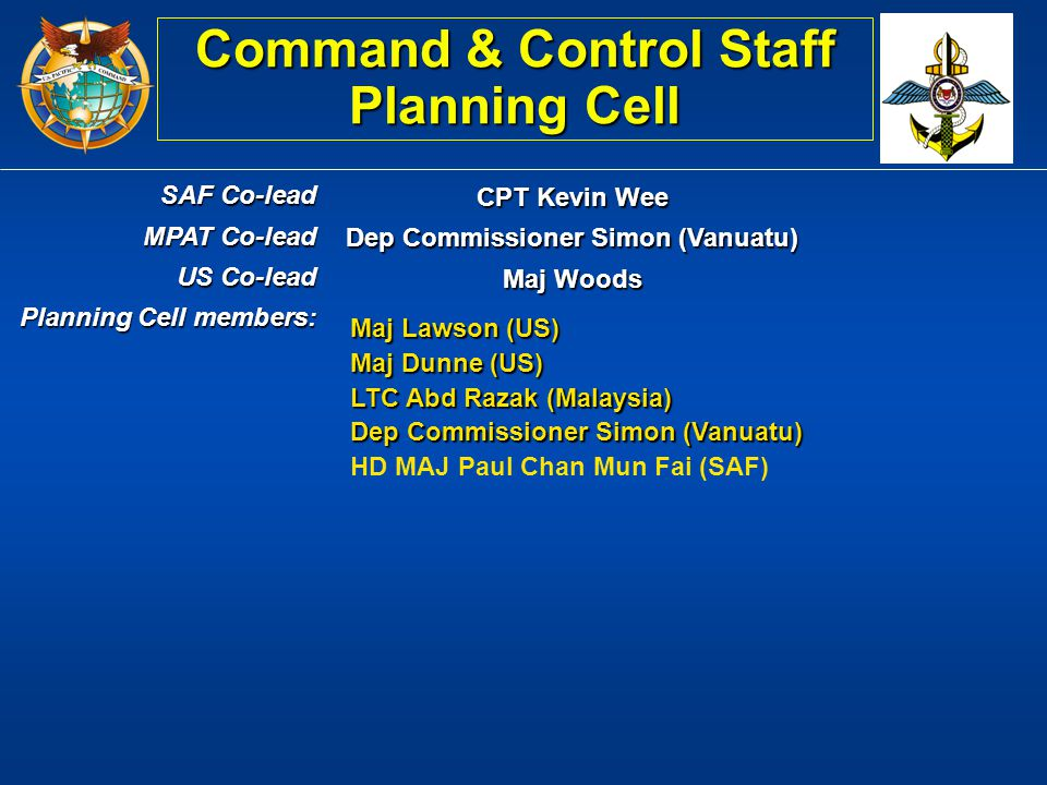 Command & Control Staff Planning Cell Dep Commissioner Simon (Vanuatu)