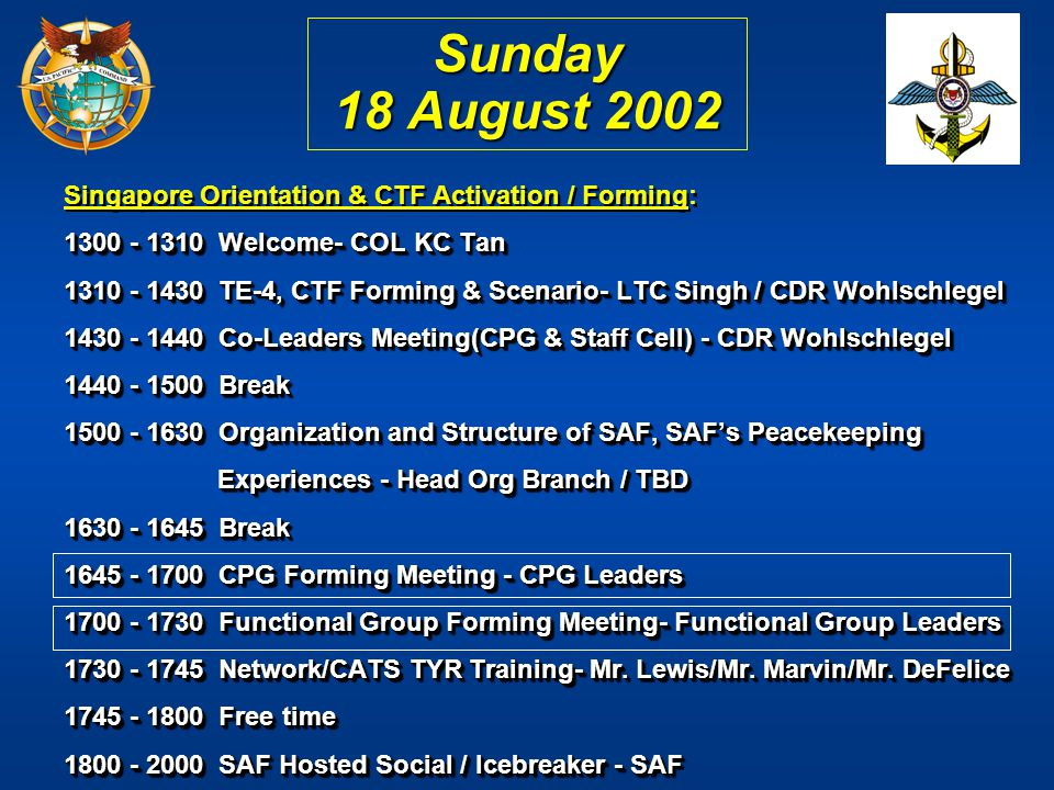 Sunday 18 August 2002 Singapore Orientation & CTF Activation / Forming: 1300 - 1310 Welcome- COL KC Tan.