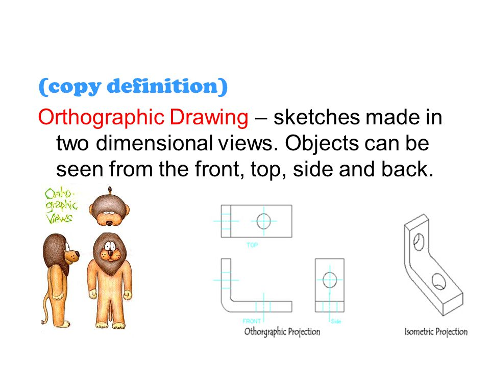(copy definition) Orthographic Drawing – sketches made in two dimensional views.