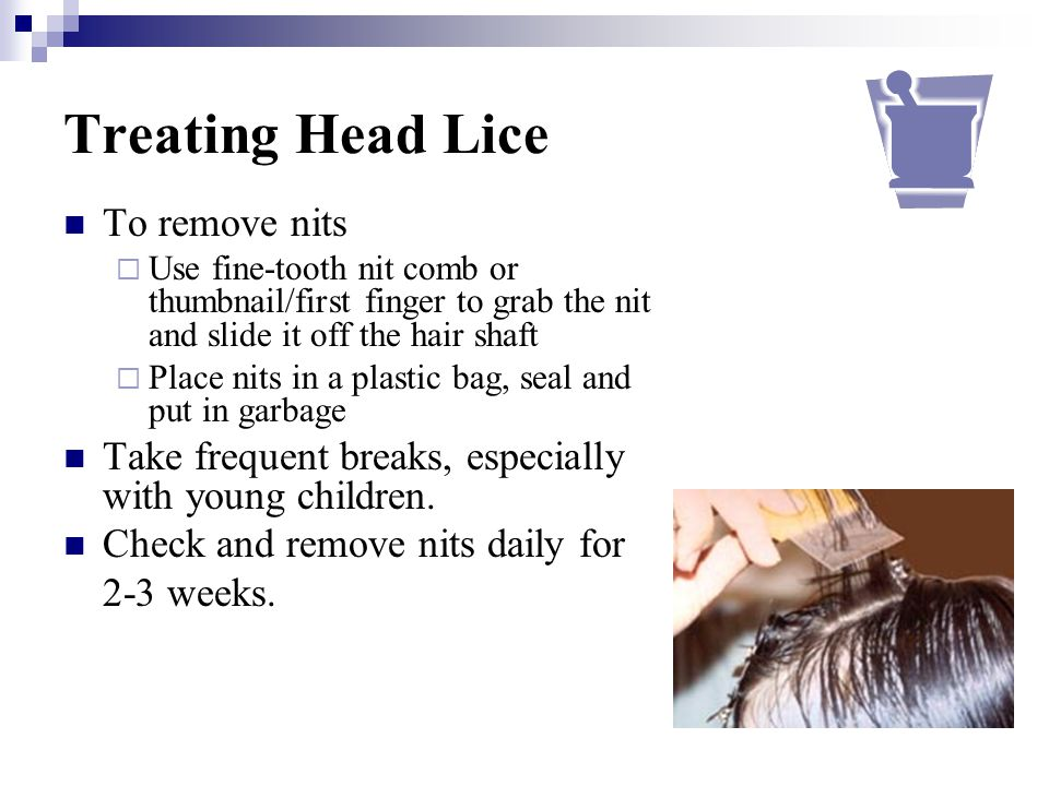 Treating Head Lice To remove nits