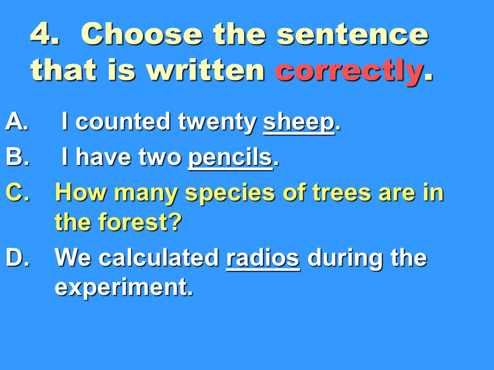 4. Choose the sentence that is written correctly.