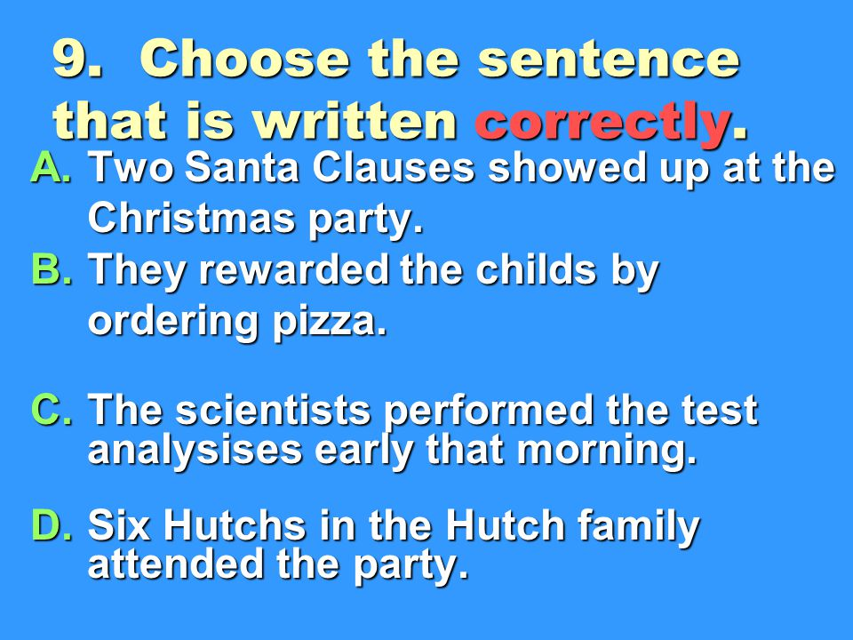 9. Choose the sentence that is written correctly.