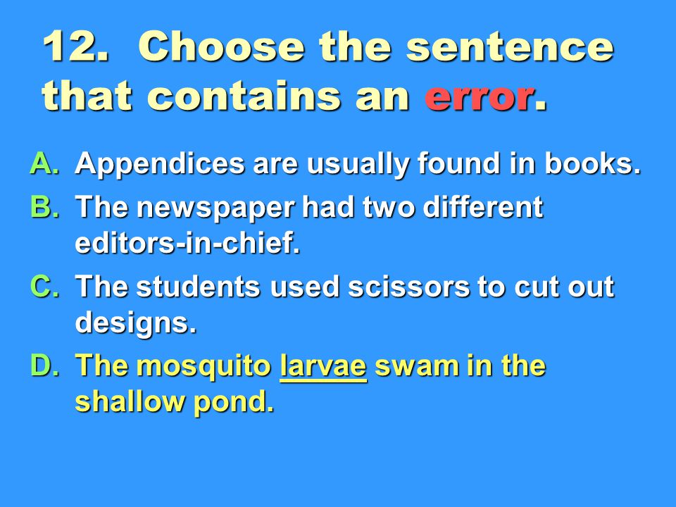 12. Choose the sentence that contains an error.