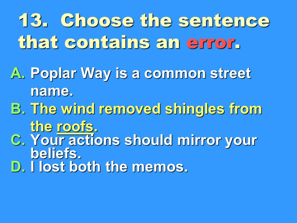13. Choose the sentence that contains an error.