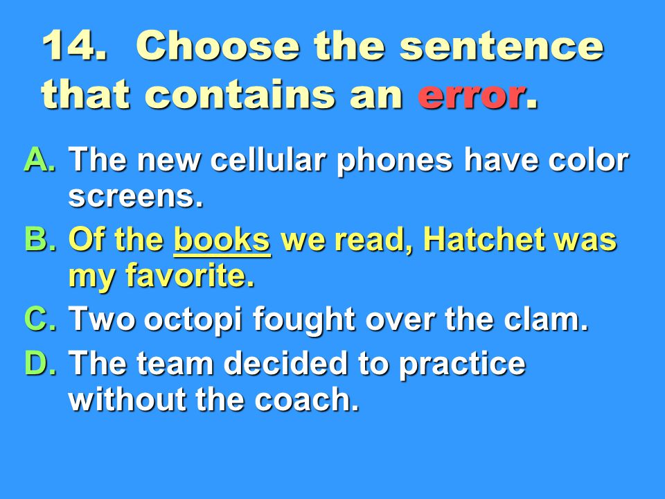 14. Choose the sentence that contains an error.