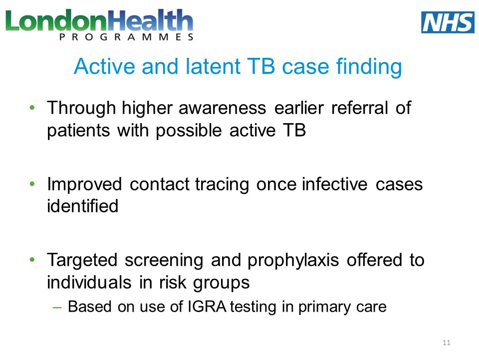 Active and latent TB case finding