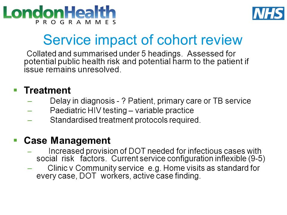 Service impact of cohort review
