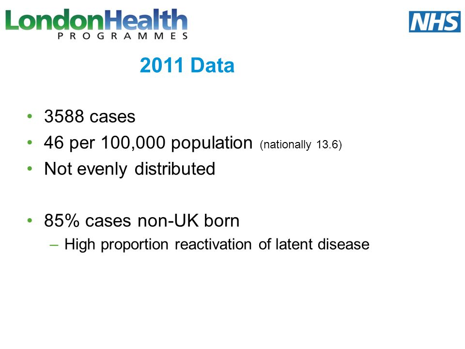 2011 Data 3588 cases 46 per 100,000 population (nationally 13.6)
